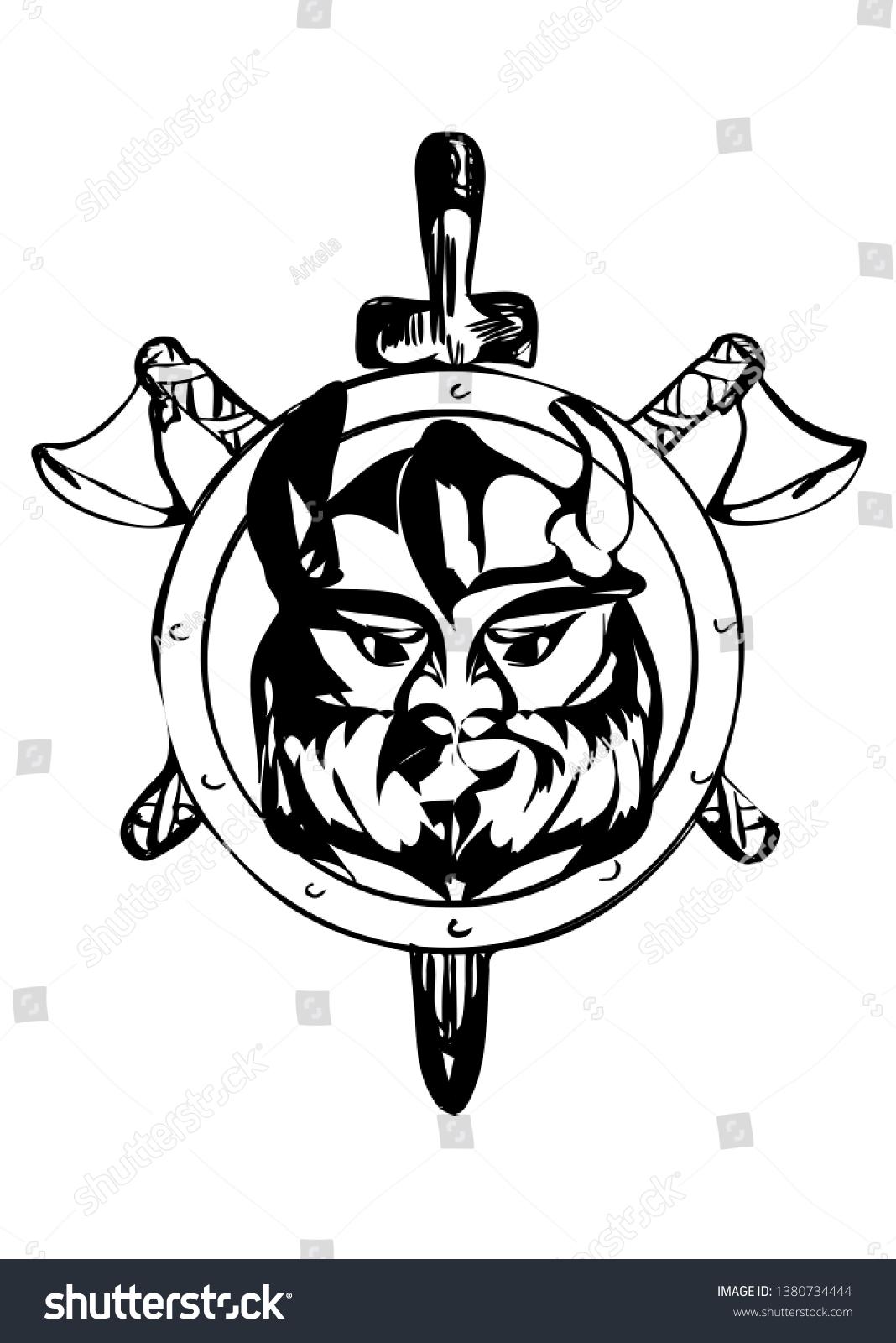 Viking Helmet Silhouette : viking, helmet, silhouette, Viking, Silhouette, Horned, Helmet, White, Stock, Vector, (Royalty, Free), 1380734444