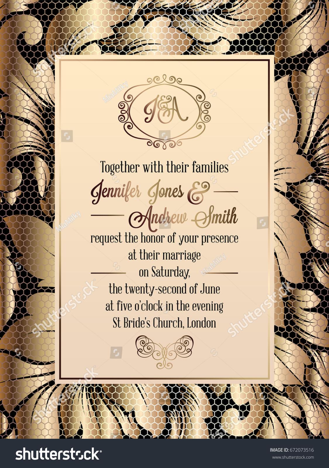 https www shutterstock com image vector vintage baroque style wedding invitation card 672073516