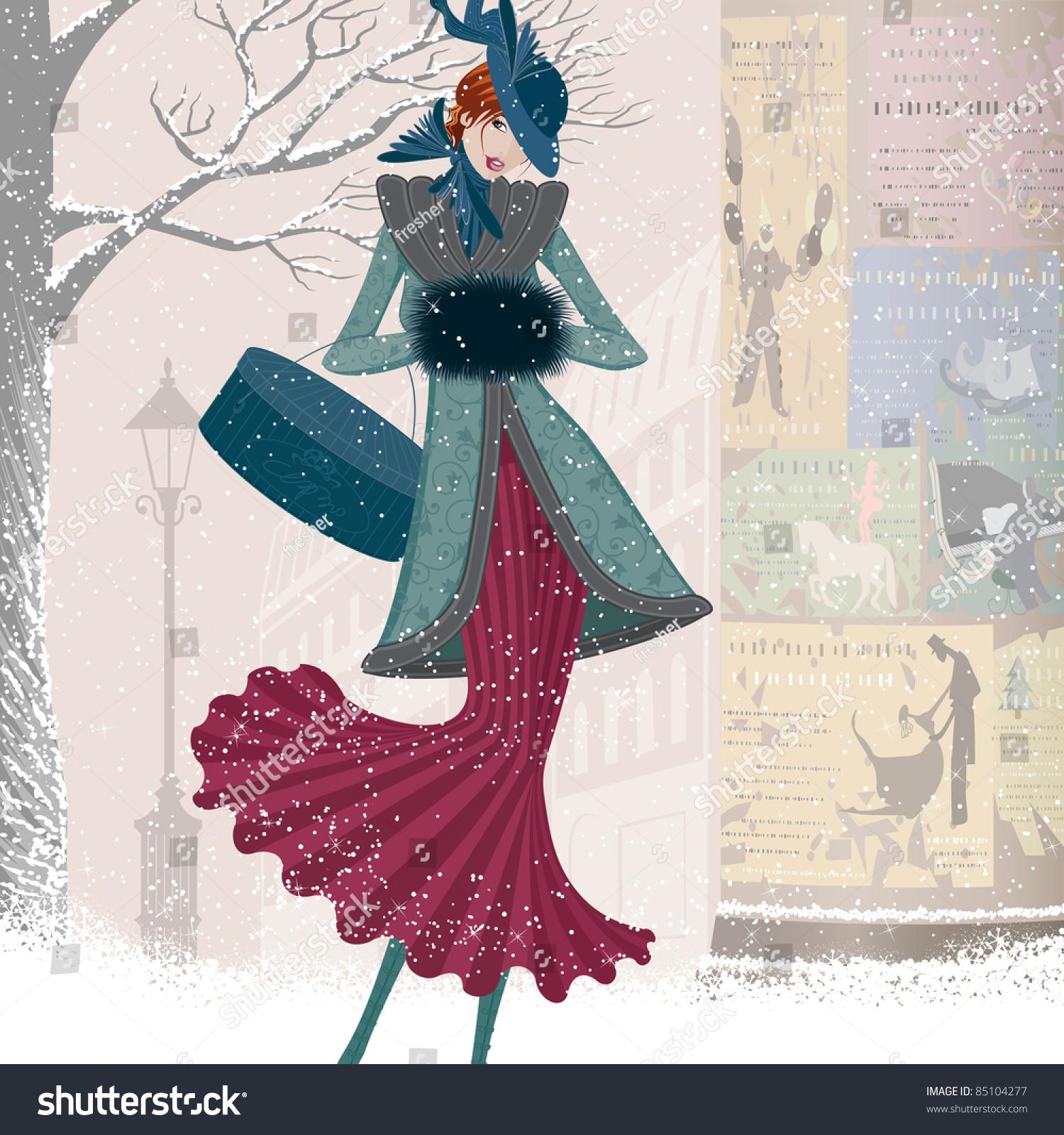 Vintage Christmas Card Elegantly Dressed Woman Stock
