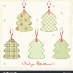 Vintage Christmas Trees Shabby Chic Style Stock Vector Royalty Free 162132236