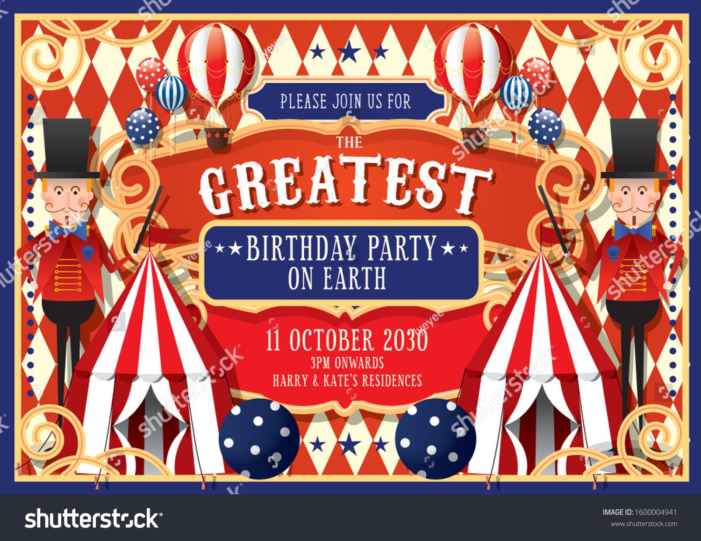 https www shutterstock com image vector vintage circus birthday invitation card design 1600004941