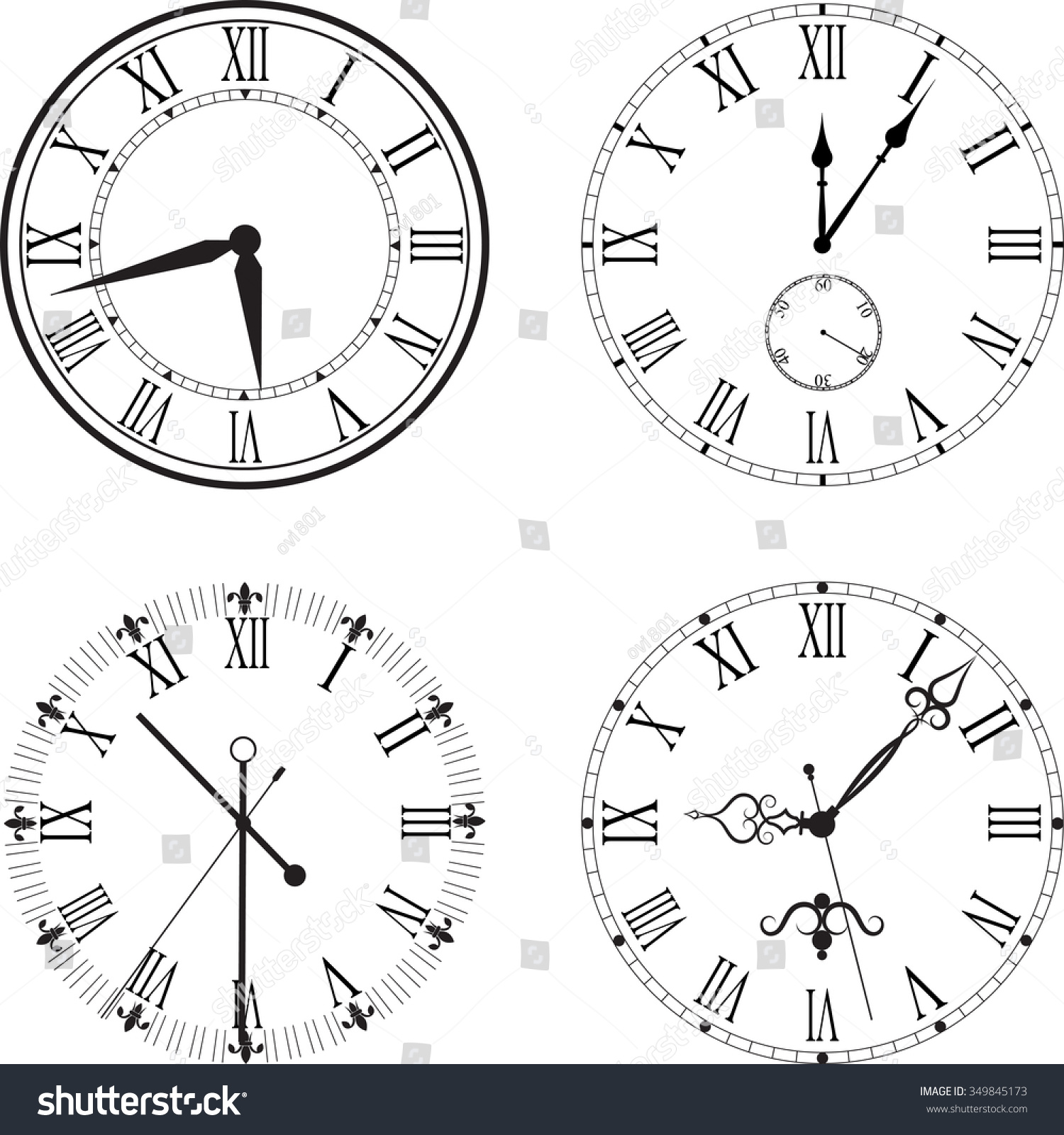 Vintage Clock Face With Roman Numerals Stock Vector Illustration Shutterstock