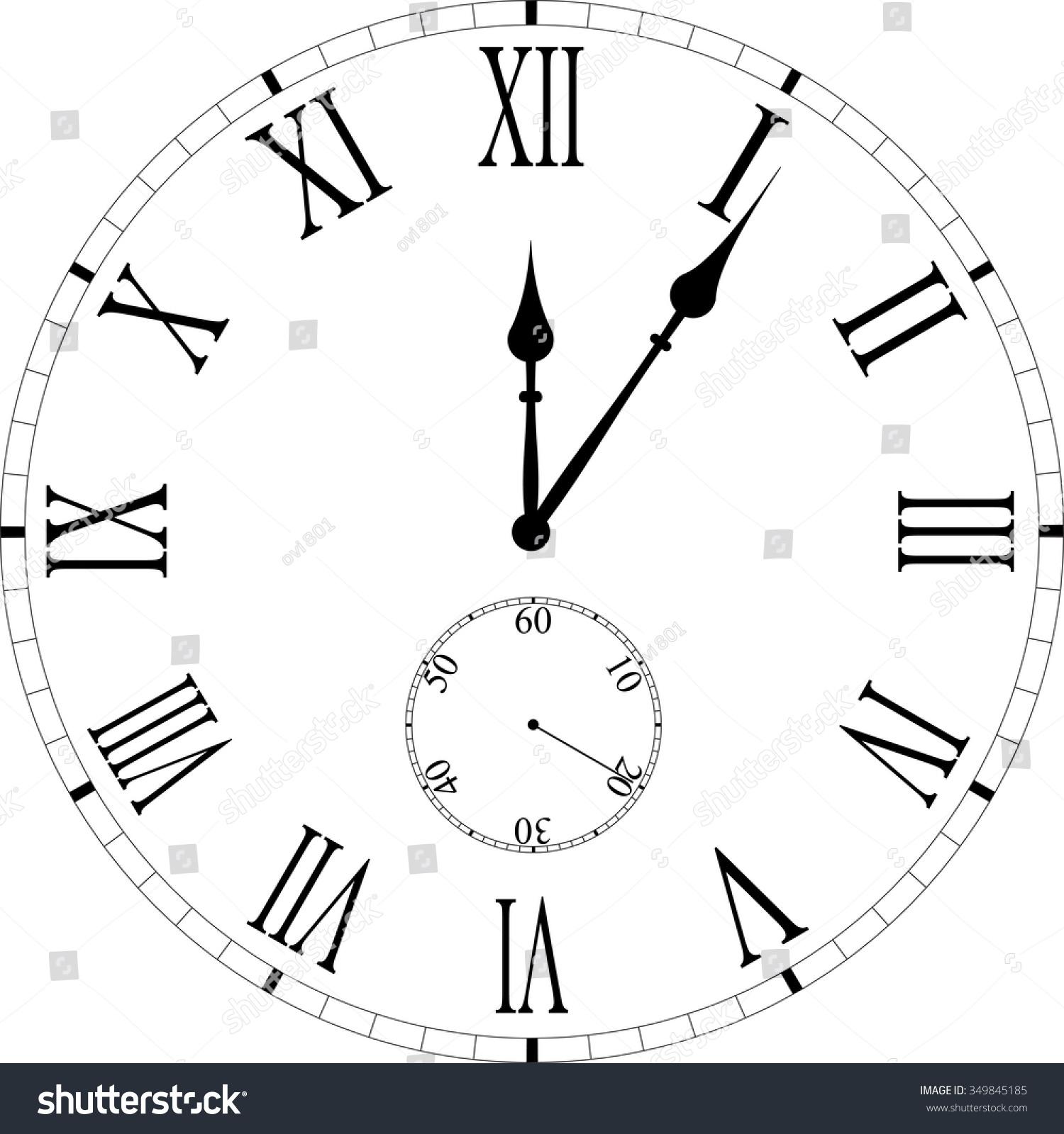 Vintage Clock Face Roman Numerals Stock Vector