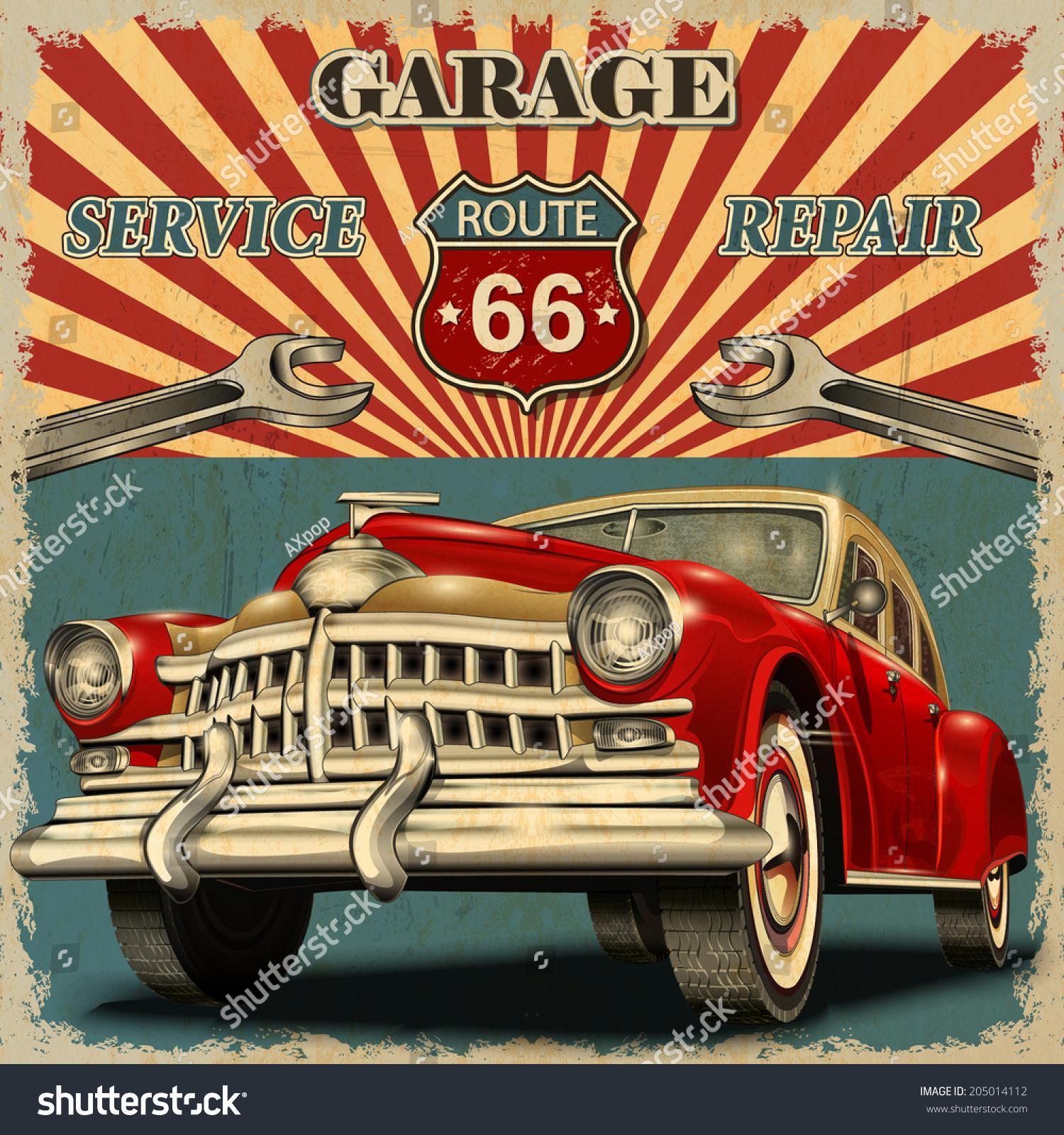 50s Classic Cars Wallpaper Vintage Garage Retro Poster Illustrazione Vettoriale D