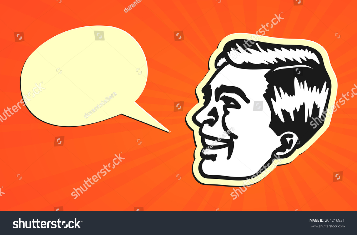 hight resolution of vintage retro clipart talking head of man with speech bubble