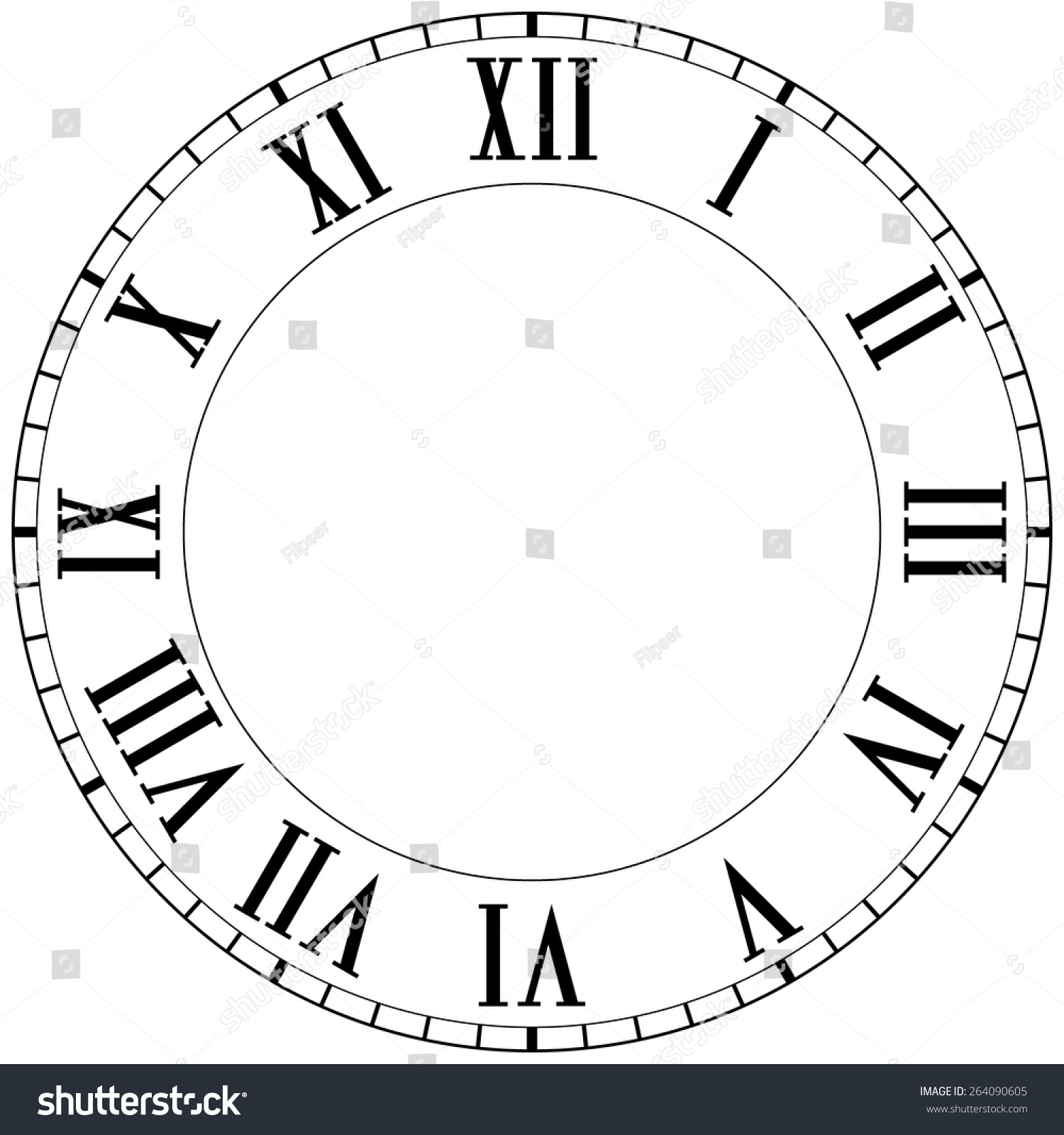 Vintage Roman Numeral Clock Vector Illustration Isolated On White Background