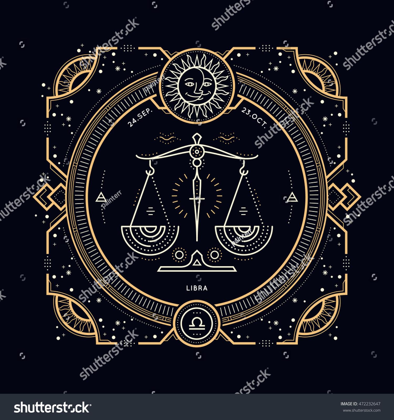 Vintage Thin Line Libra Zodiac Sign Stock Vector 472232647