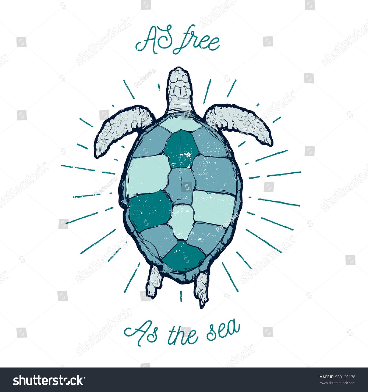 Vintage Vector Label Sea Turtle Text Stock Vector