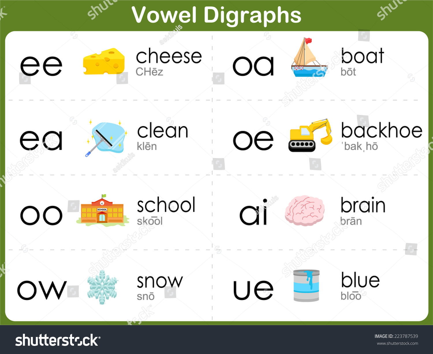 Vowel Digraphs Worksheet Kids Stock Vector