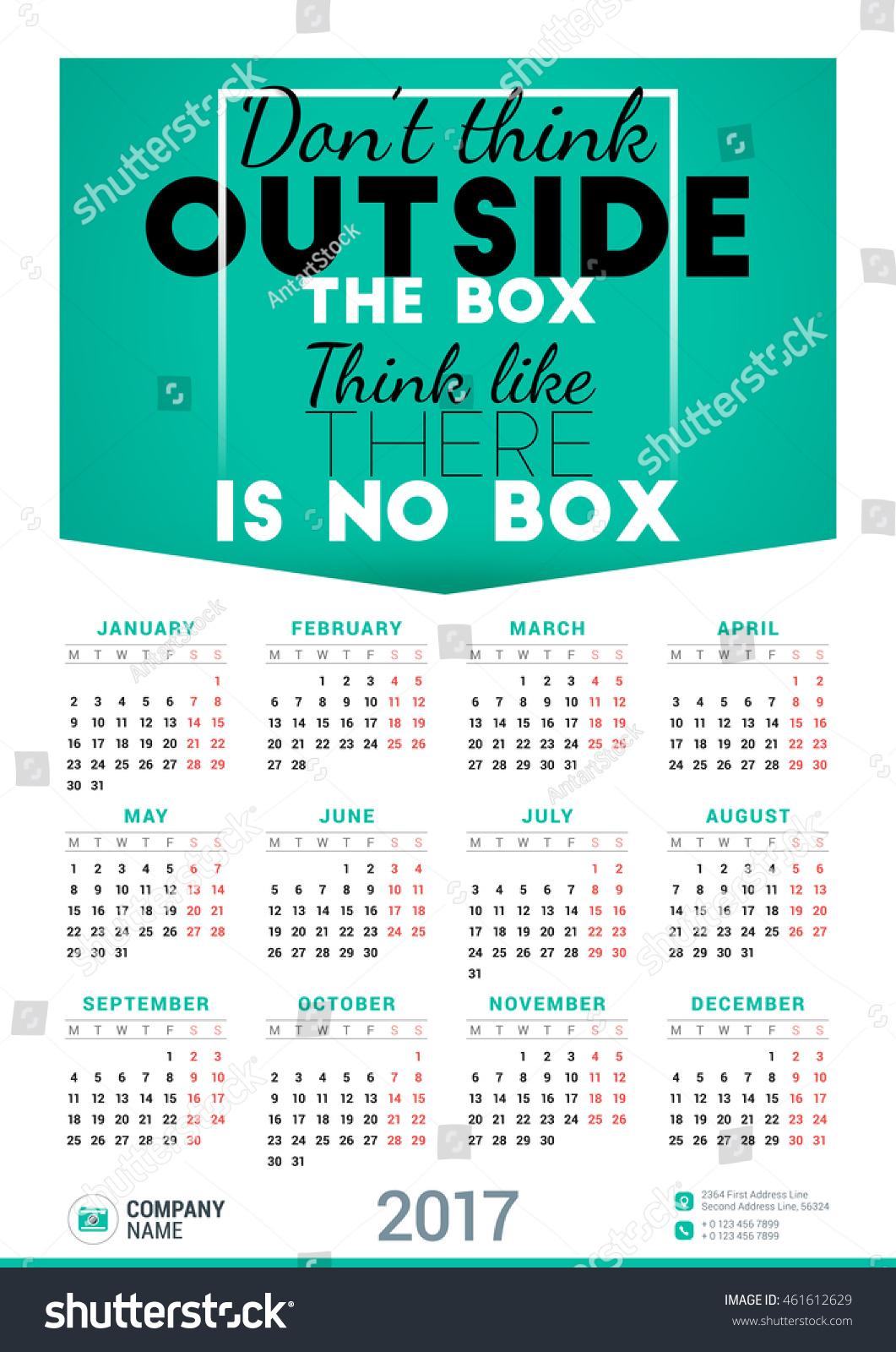 pic 2017 Poster Calendar Template shutterstock