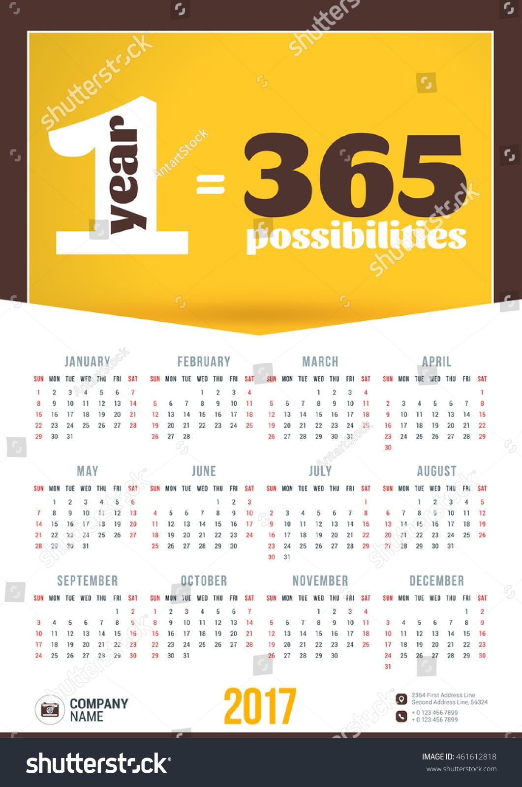 picture 2017 Poster Calendar Template shutterstock