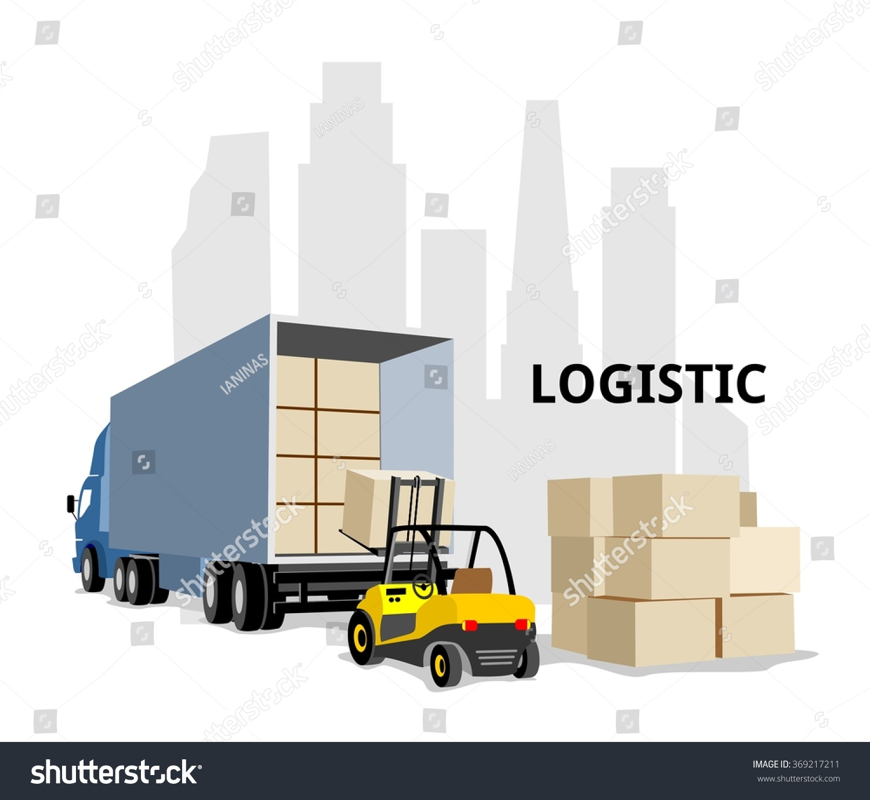 Warehouse Logistics Transport Loading Box Vector Stock