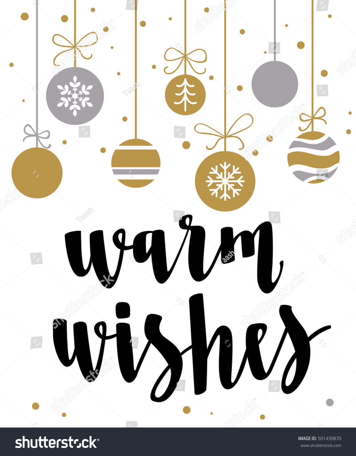 Warm Wishes Holiday Greeting Card Calligraphy Stock Vector 501439870 - Shutterstock