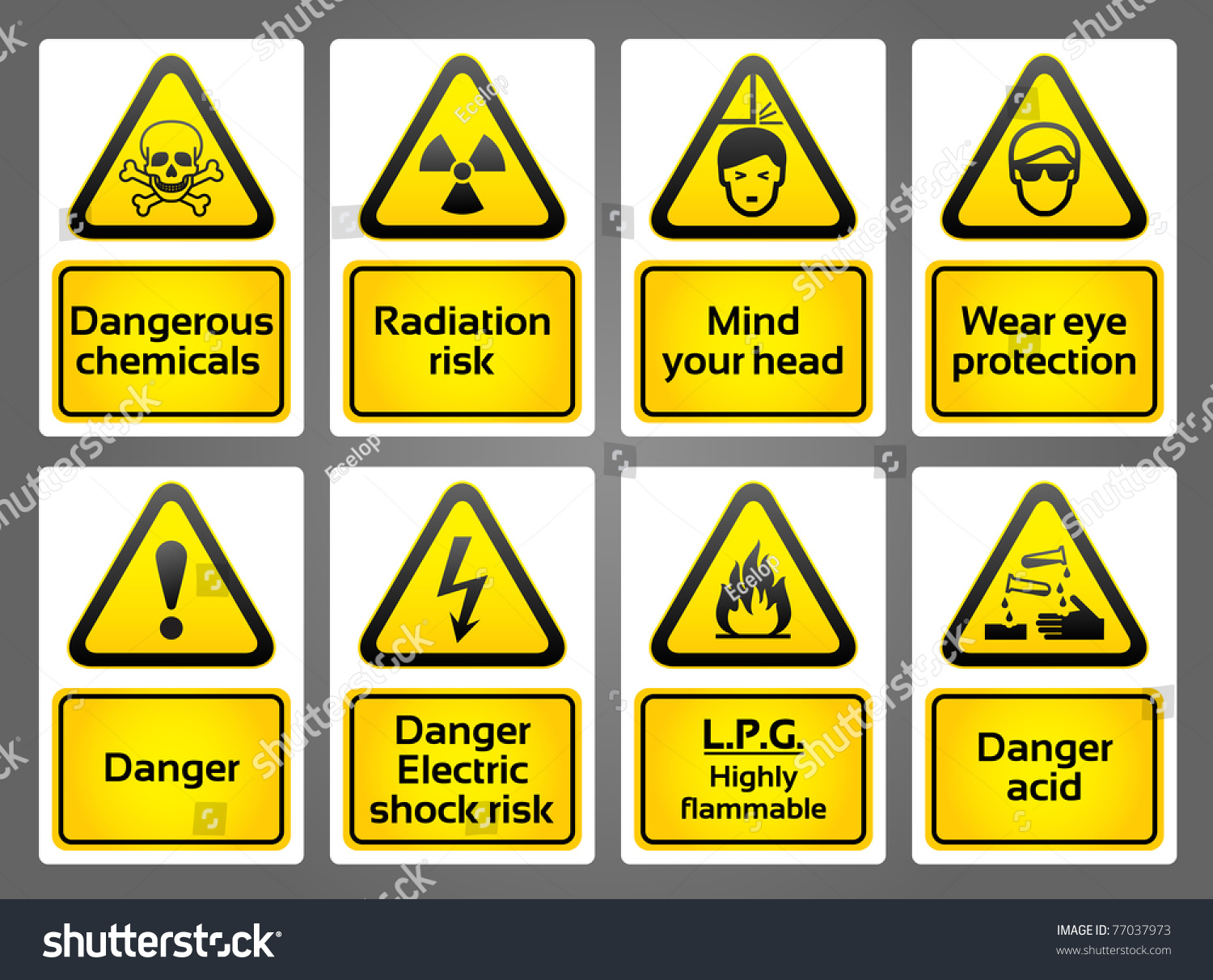 Warning Signs Labels Stock Vector 77037973  Shutterstock