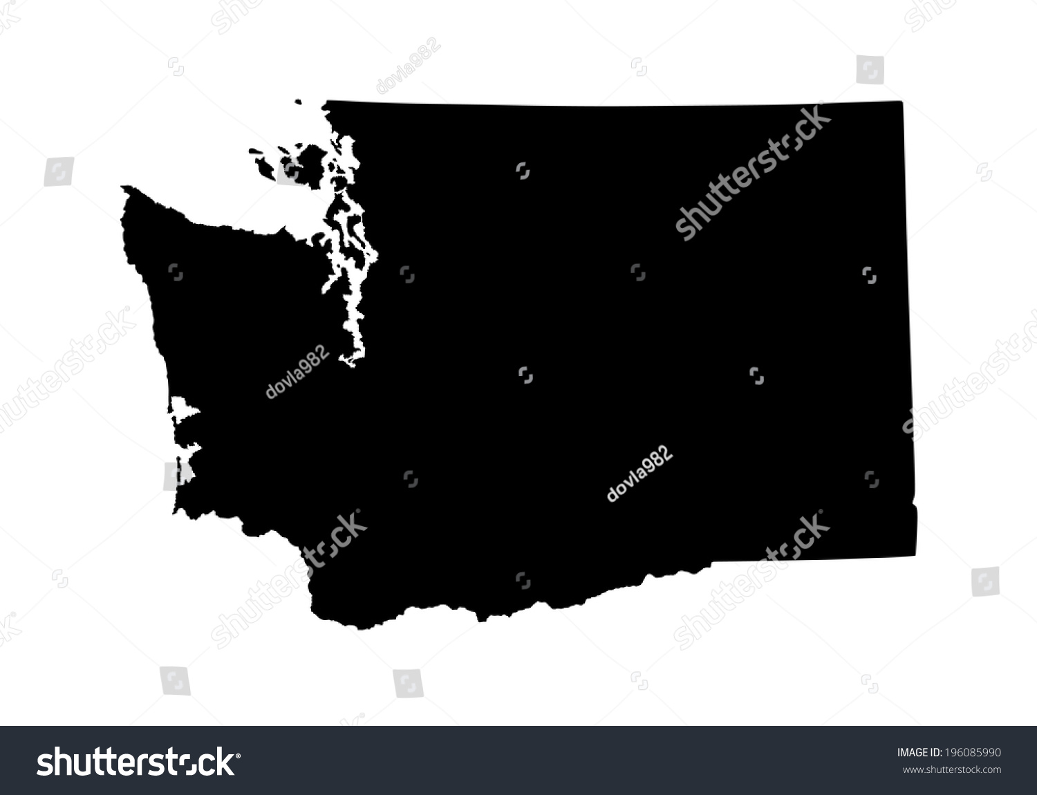 Washington State Vector Map Isolated On Stock Vector