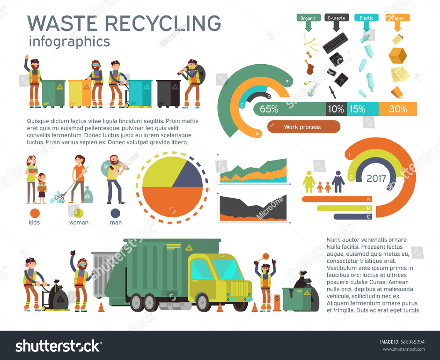 Waste Management Garbage Collection Recycling Vector Stock