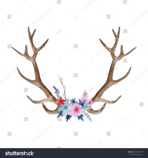 Watercolor Deer Antlers with Flowers