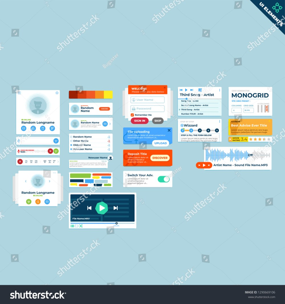 medium resolution of web ui elements ui widgets collection flat design web elements icons web forms button check box radio button switch button tab accordions