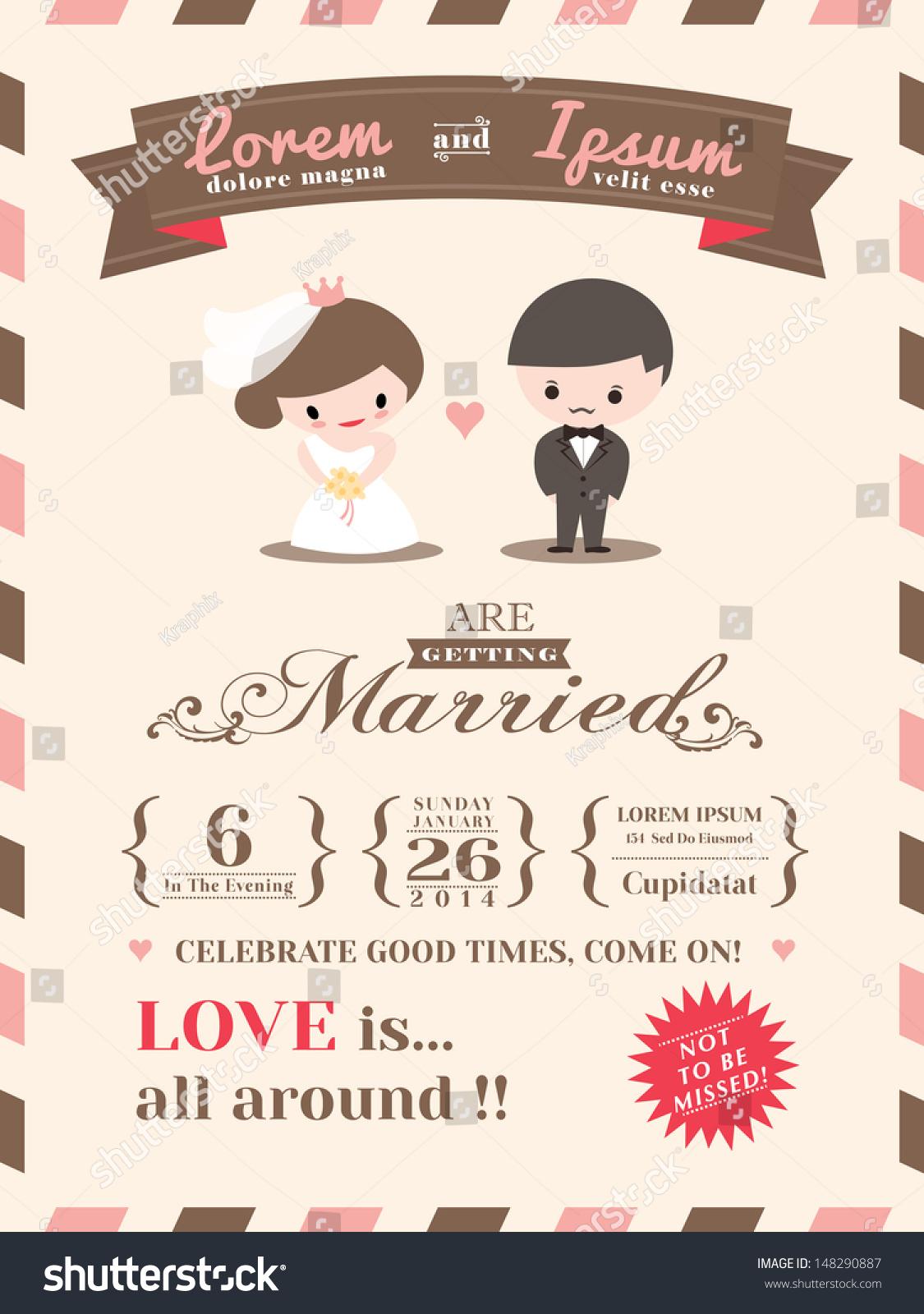 Wedding Invitation Card Template Cute Groom Stock Vector
