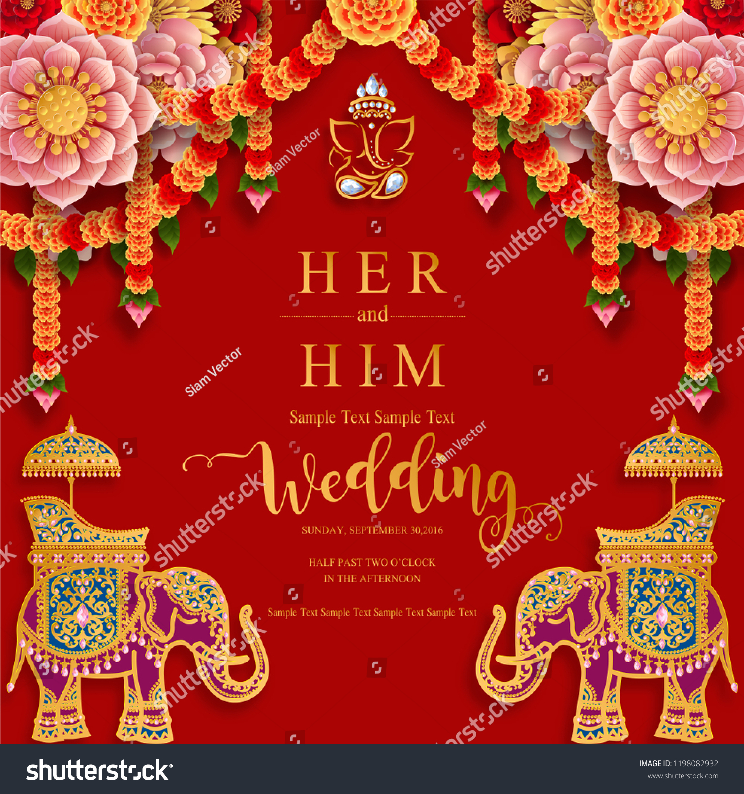https www shutterstock com image vector wedding invitation card templates gold patterned 1198082932