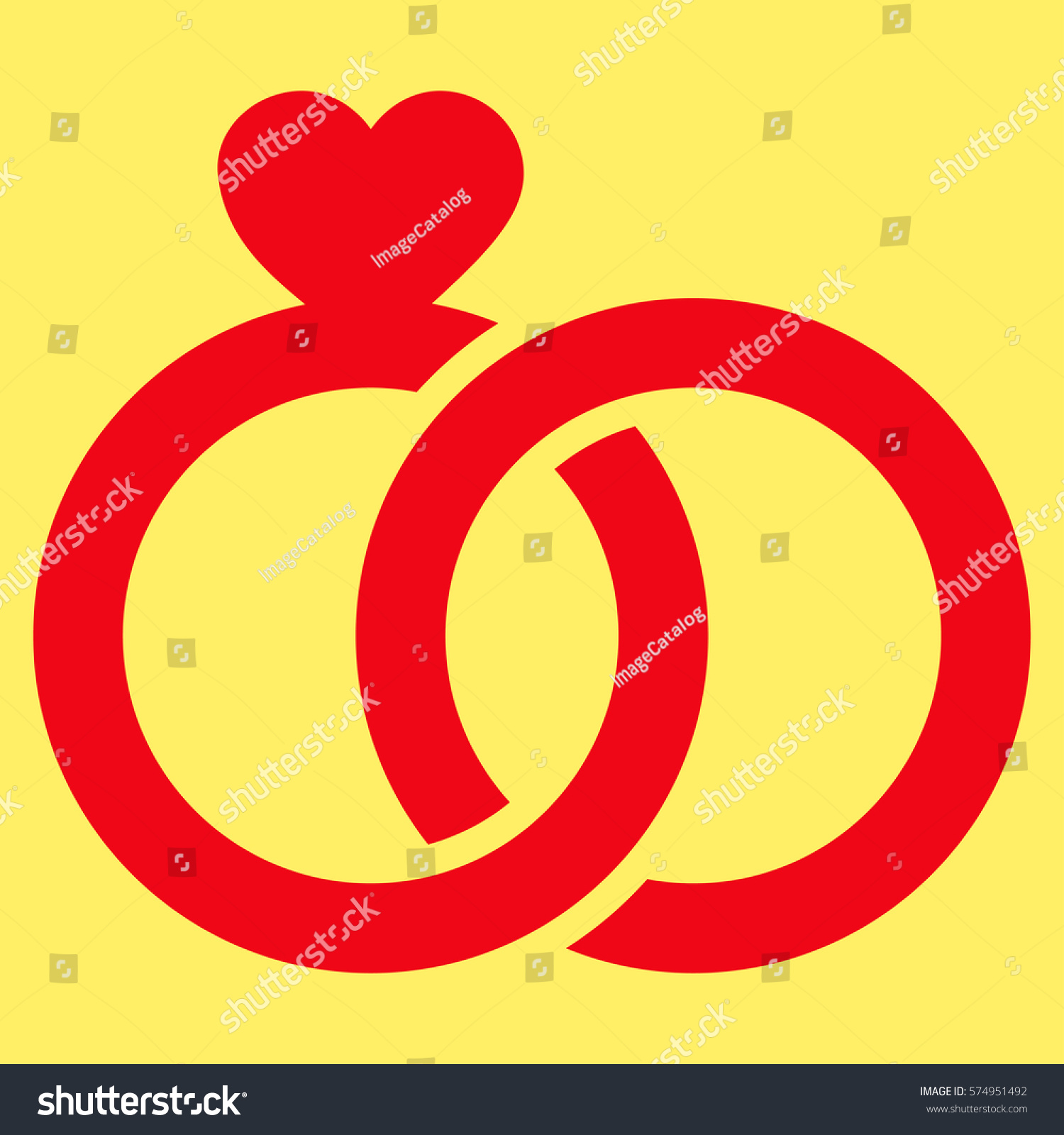 Wedding Rings Flat Icon Vector Red Stock Vector 574951492