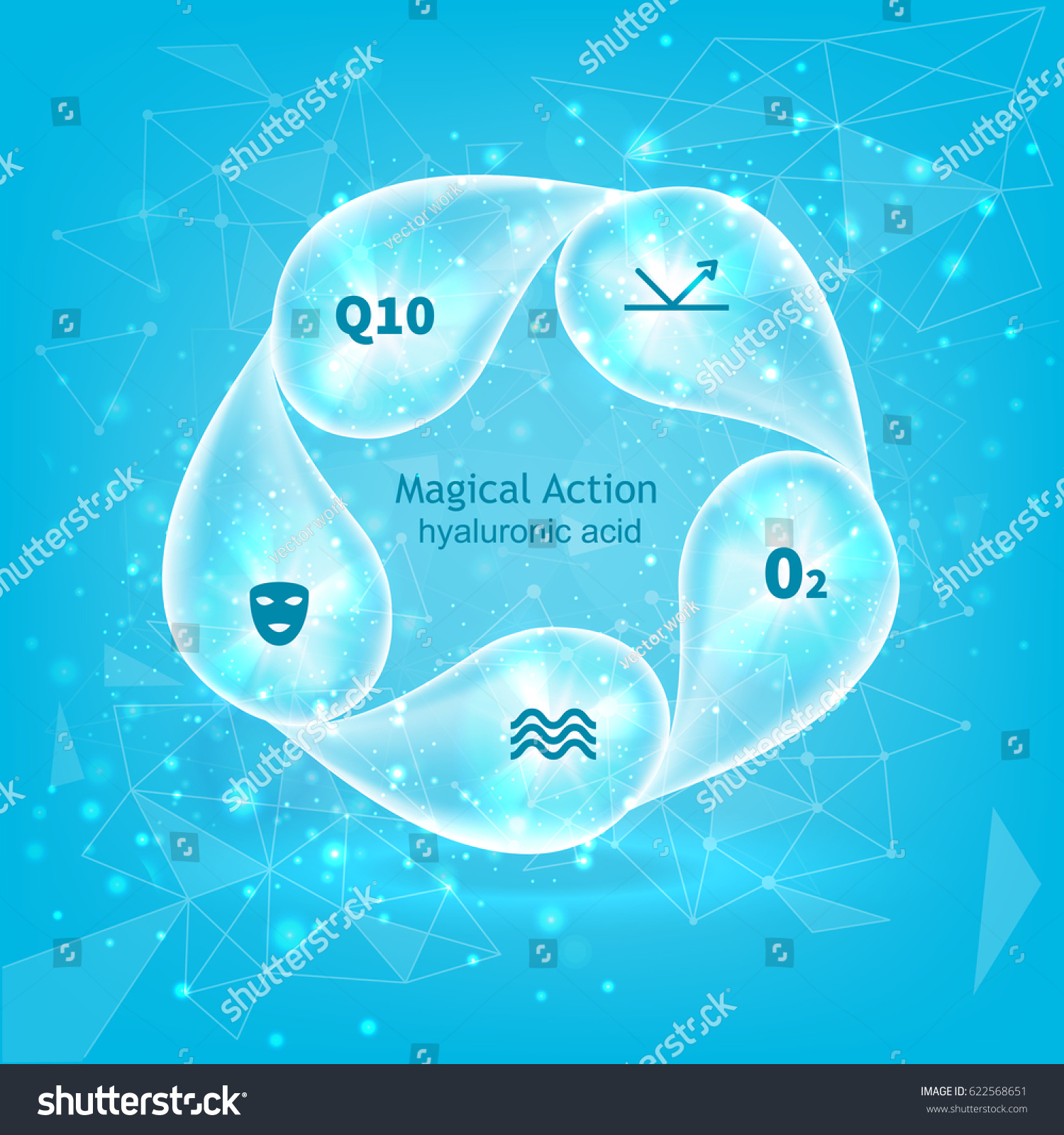 hight resolution of whirlpool of hyaluronic acid droplets medical abstract diagram infographics template drops on circle vector