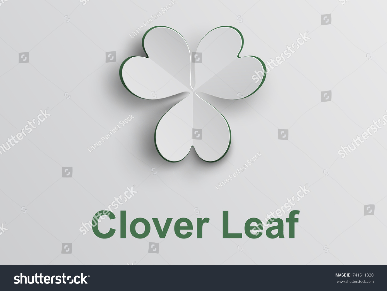 hight resolution of white clover leaf in paper cut