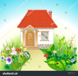 White House Red Roof Summer Garden Stock Vector Royalty Free 92878600