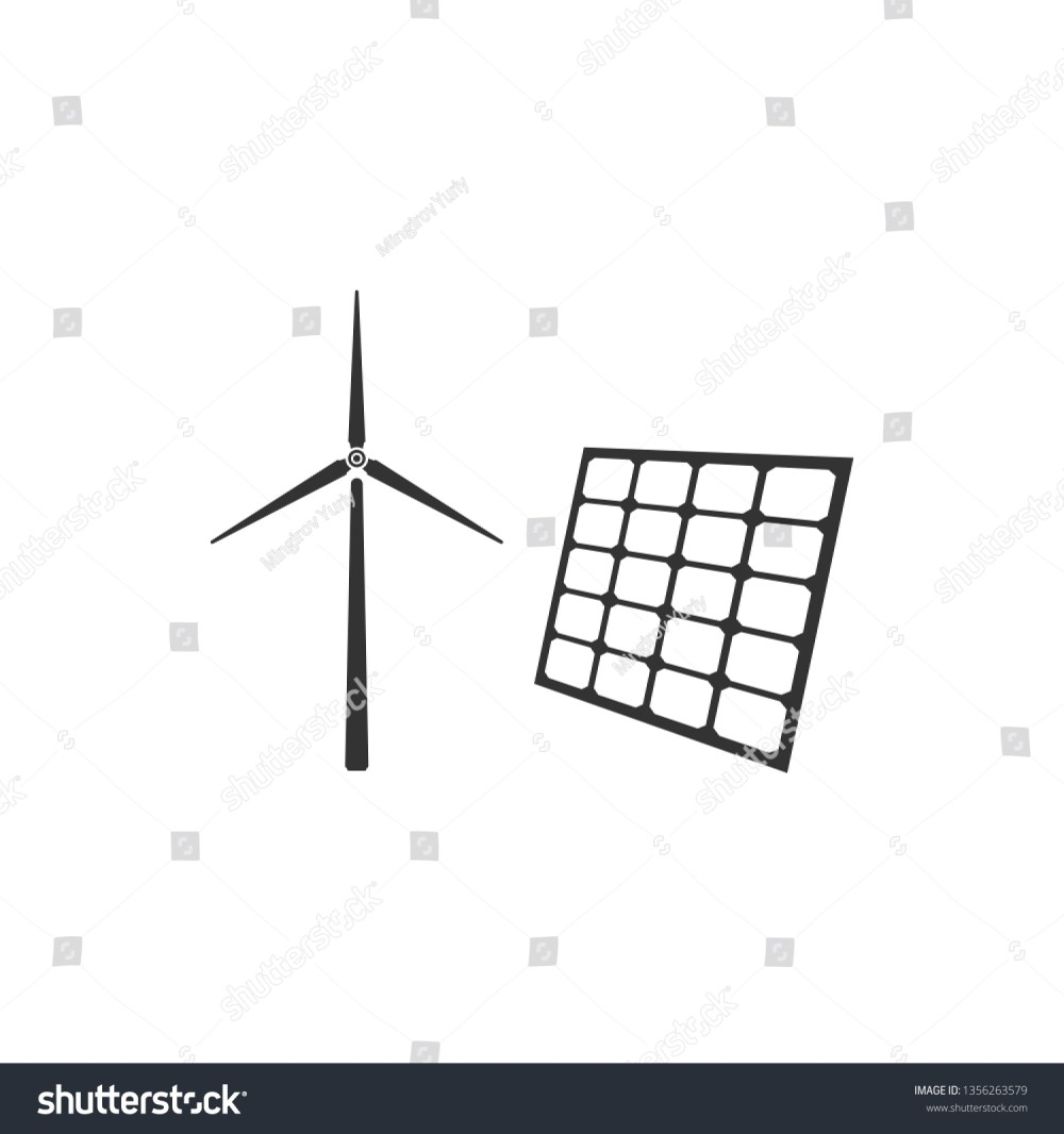 medium resolution of wind mill turbines generating electricity and solar panel icon isolated energy alternative concept of