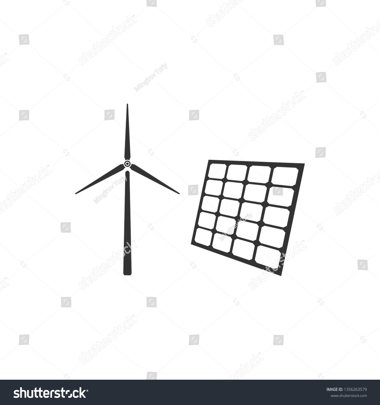 hight resolution of wind mill turbines generating electricity and solar panel icon isolated energy alternative concept of