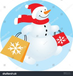 snowman shopping cartoon funny winter banner bag shutterstock vector lightbox save