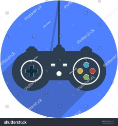 wired game controller icon vector illustration in flat design with shadow  [ 1500 x 1600 Pixel ]