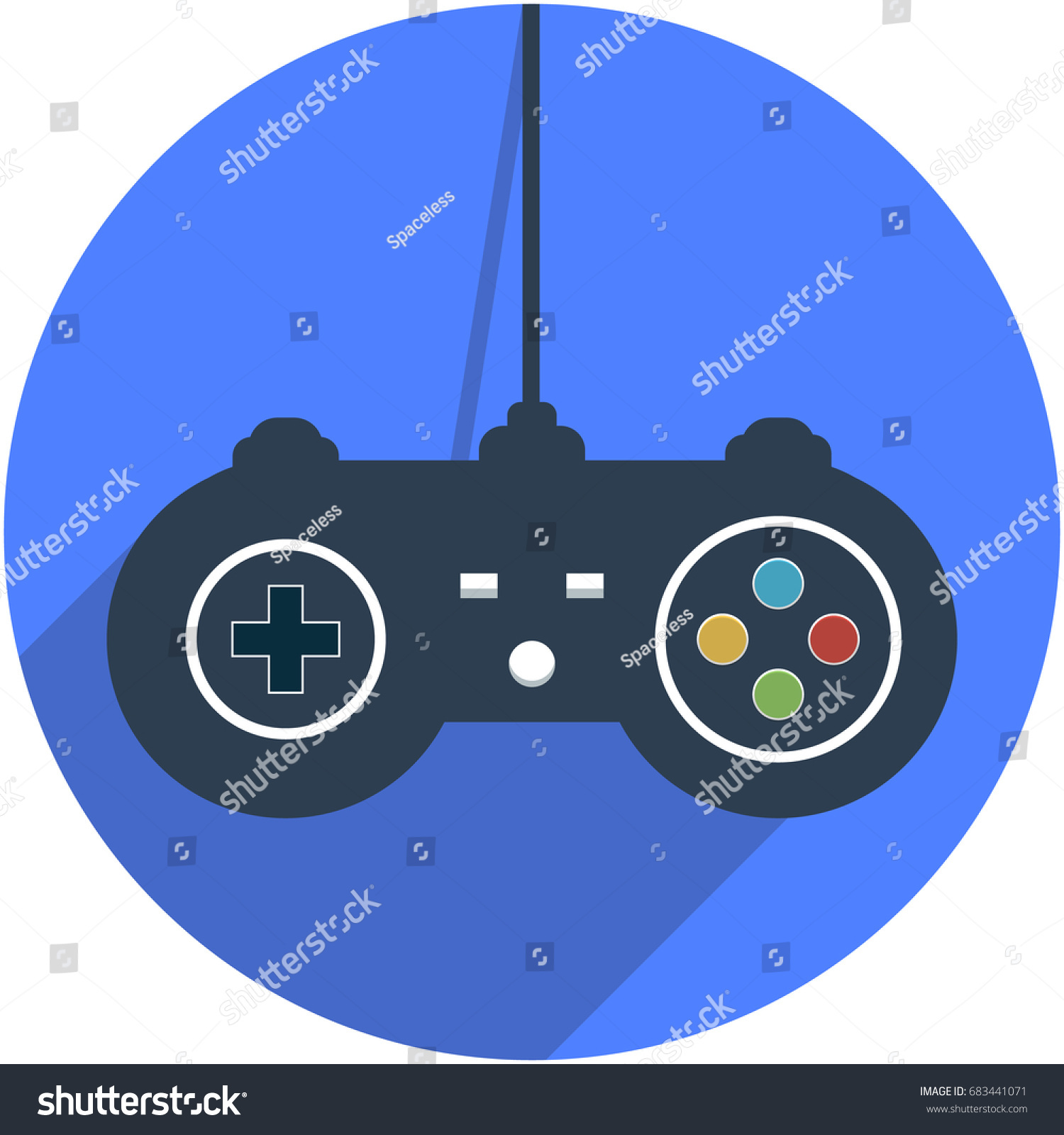hight resolution of wired game controller icon vector illustration in flat design with shadow