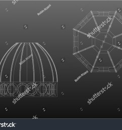 wireframe architecture plan and front the cupola brunelleschi from florence italy [ 1500 x 1161 Pixel ]