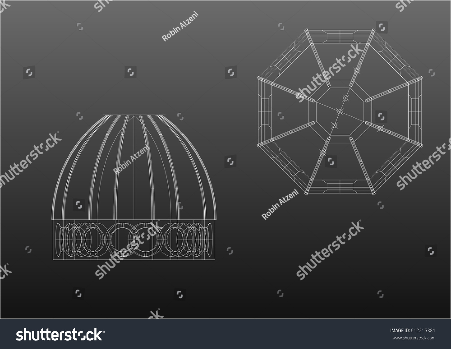hight resolution of wireframe architecture plan and front the cupola brunelleschi from florence italy