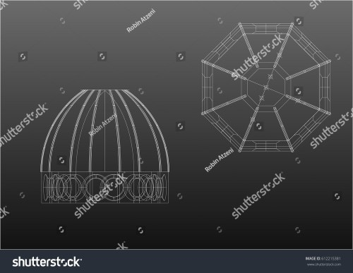small resolution of wireframe architecture plan and front the cupola brunelleschi from florence italy