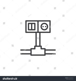wiring switch and socket line icon outline vector sign linear style pictogram isolated on [ 1500 x 1600 Pixel ]