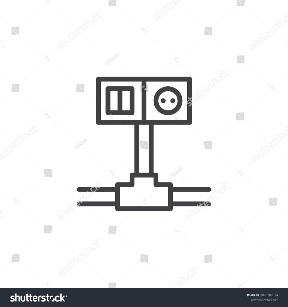 medium resolution of wiring switch and socket line icon outline vector sign linear style pictogram isolated on