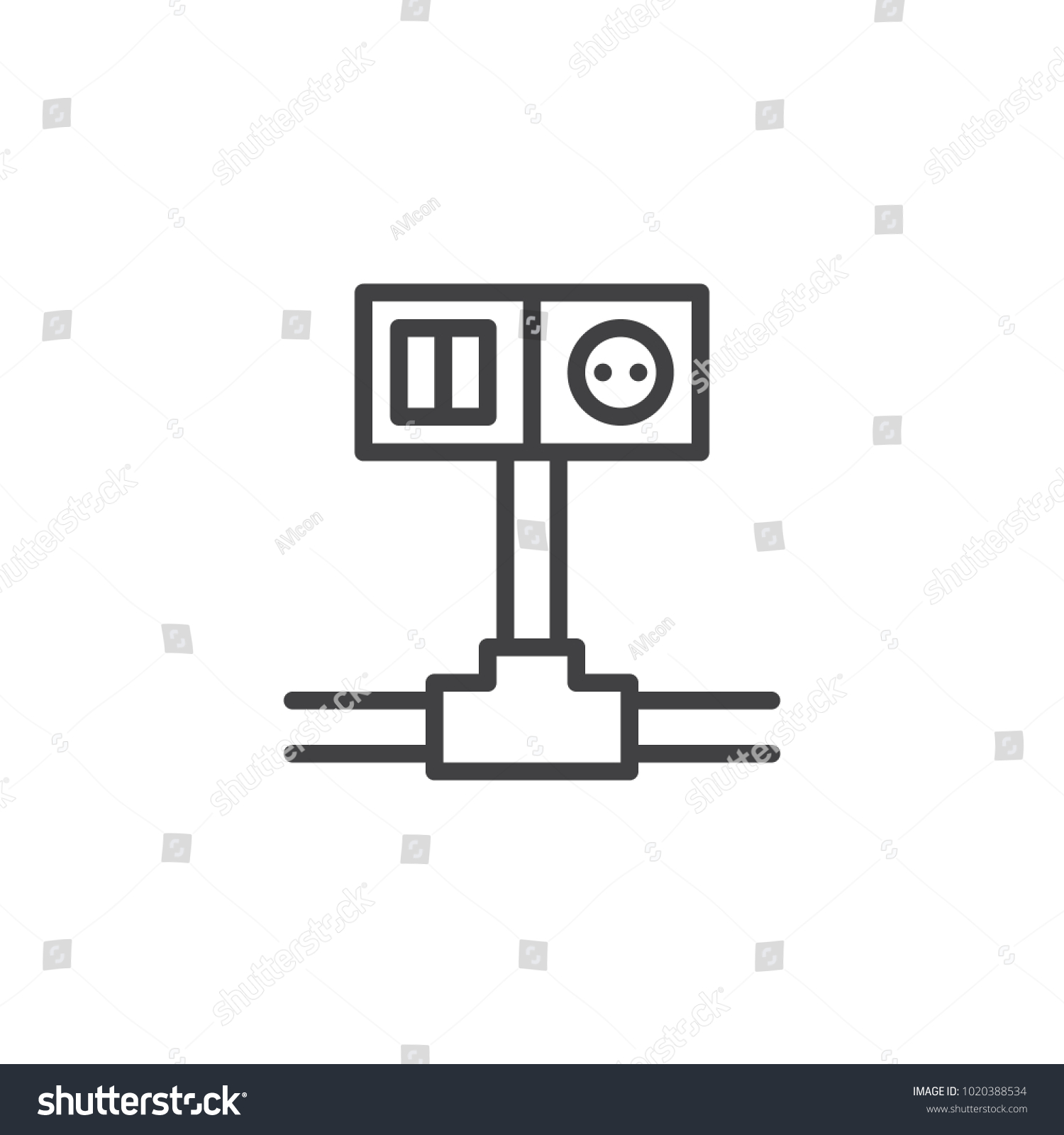 hight resolution of wiring switch and socket line icon outline vector sign linear style pictogram isolated on