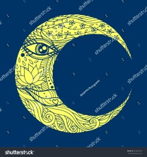Woman Face Moon Abstract Line Art Stock Vector 334625336