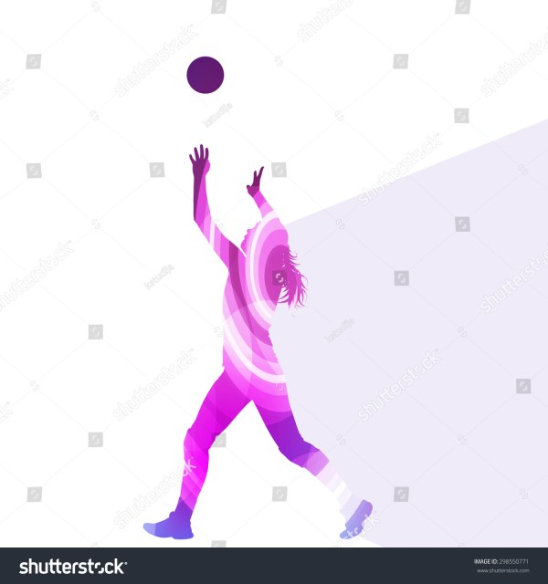 Woman Female Volleyball Player Silhouette Vector