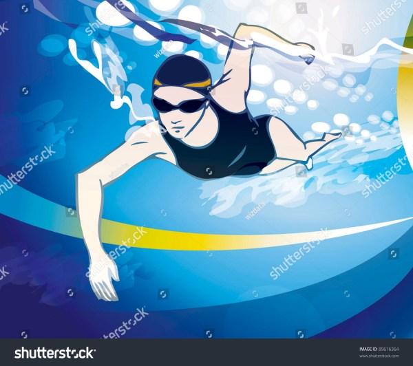 Woman Swimming Stock Vector Illustration 89616364