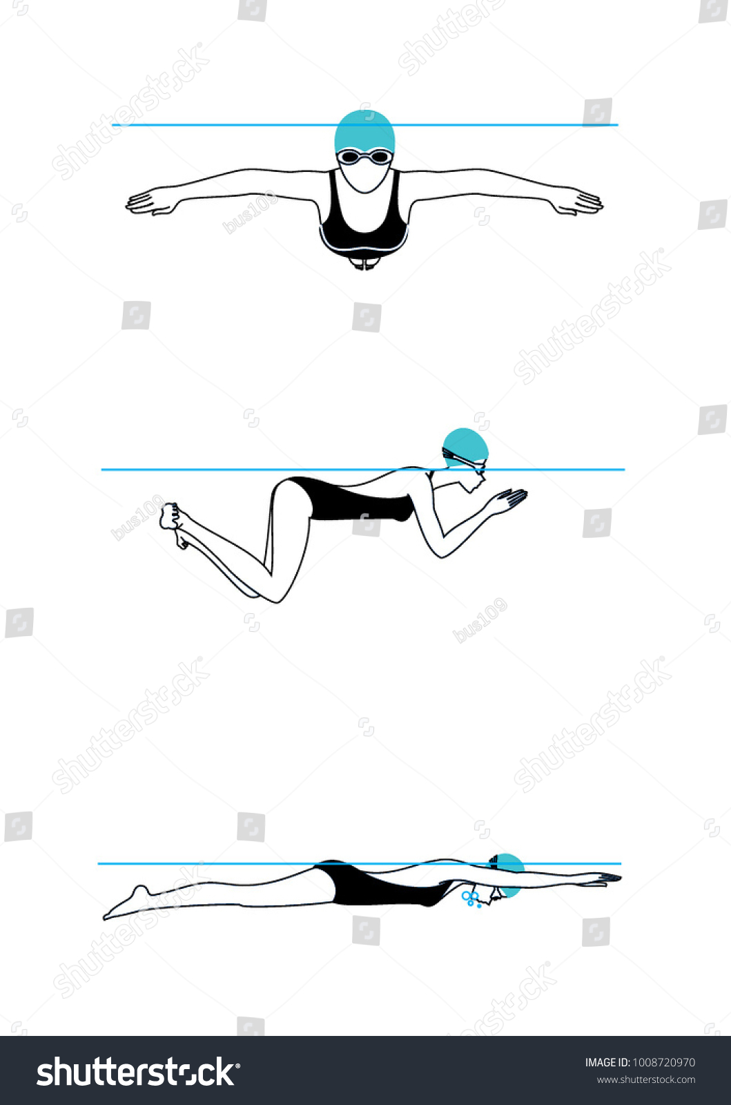 hight resolution of woman swimming brass technique step by step illustration set