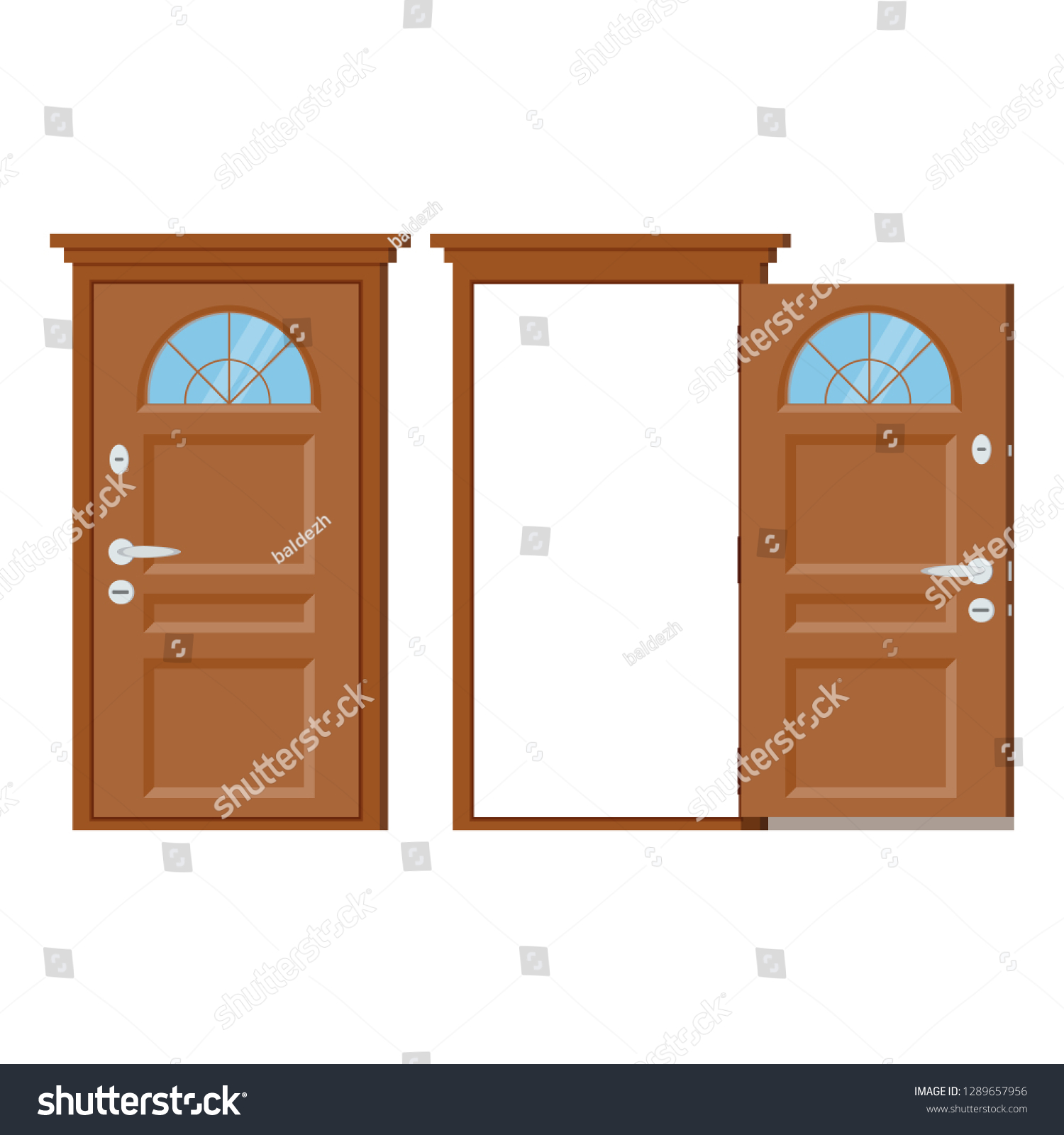 hight resolution of wooden closed and open entrance door with frame and window isolated on white background vector