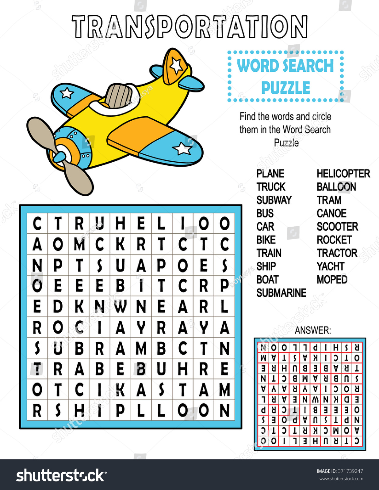 Word Search Transportation Vector Illustration Word Stock