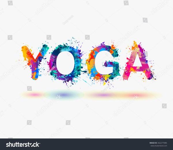 "Word ""yoga"". Rainbow Splash Paint Stock Vector"