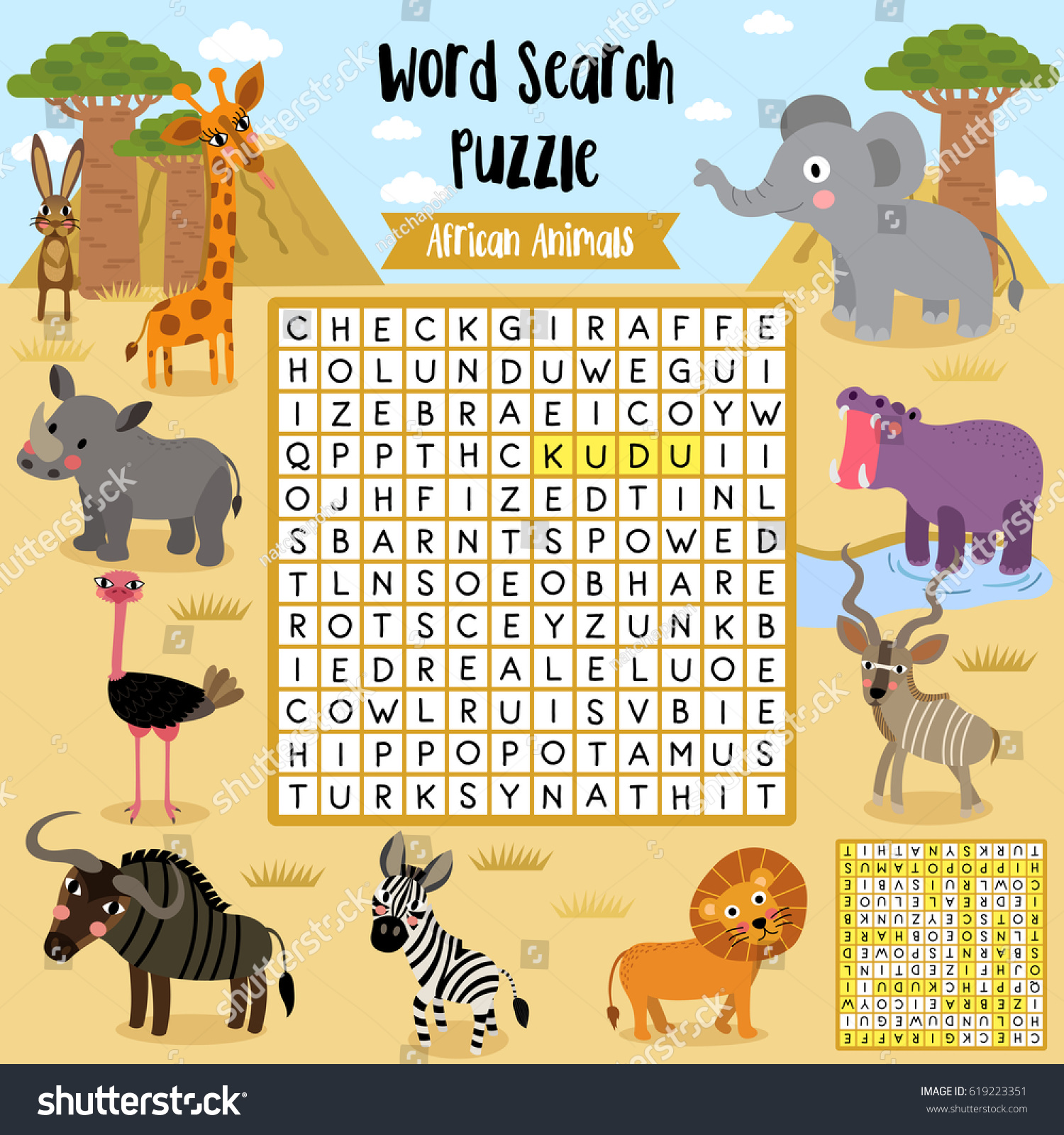 Words Search Puzzle Game African Animals Stock Vector