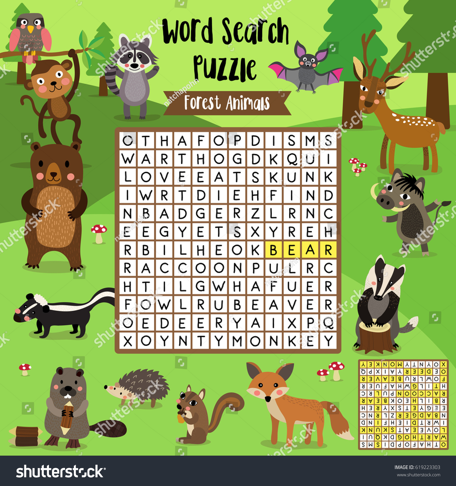 Words Search Puzzle Game Forest Animals Stock Vector
