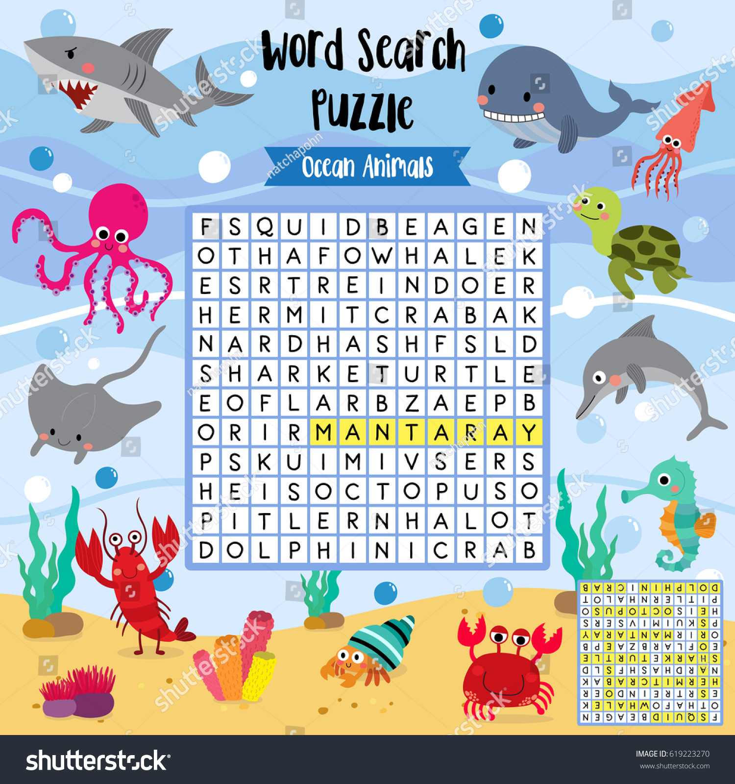 Words Search Puzzle Game Ocean Animals Stock Vector