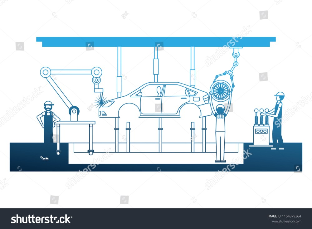 medium resolution of workers robot arms and assembly line automotive industry